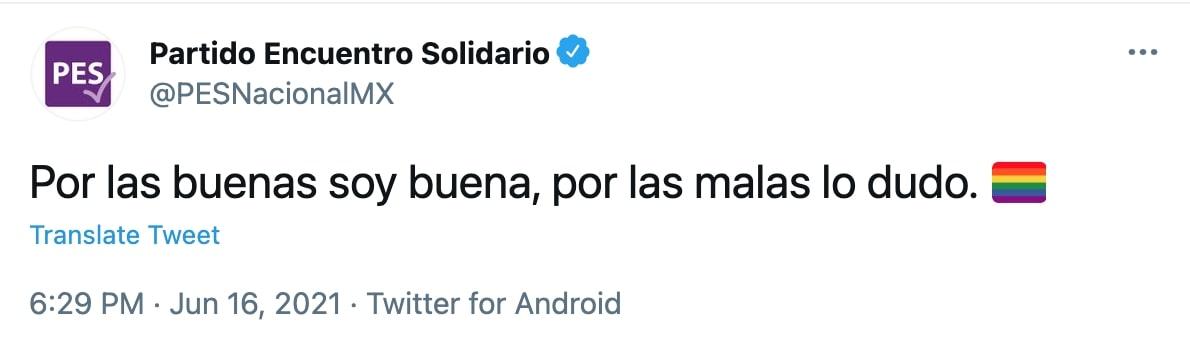 Partido Encuentro Solidario (Foto: Twitter/PESNacionalMX)