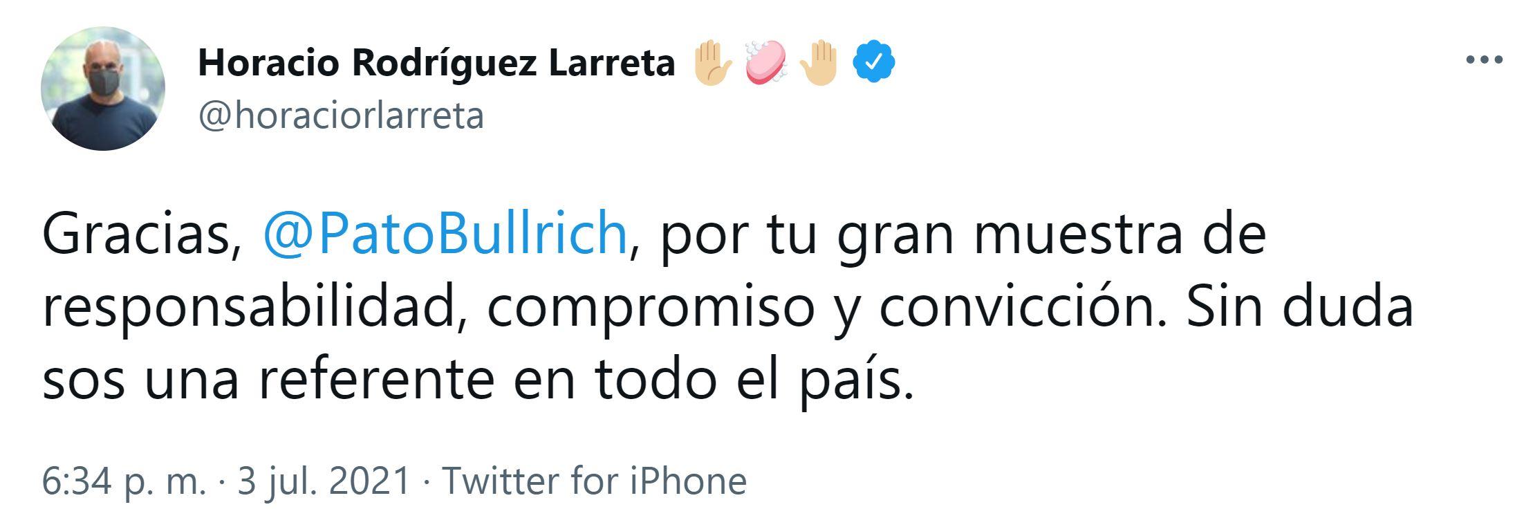 El jefe de Gobierno porteño, Horacio Rodríguez Larreta, también destacó en redes sociales la decisión de Patricia Bullrich