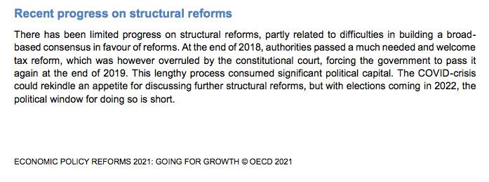 Fragmento sobre la reforma tributaria. Foto: Captura OCDE