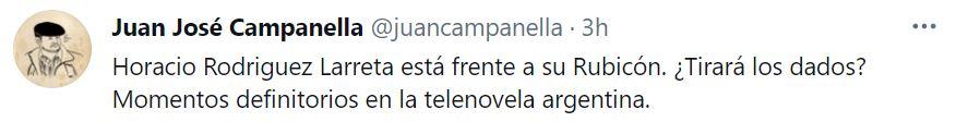 El posteo de Campanella en Twitter