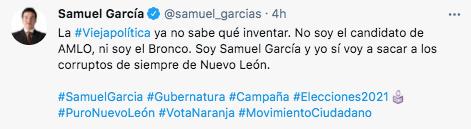 Samuel García denunció que su oponente Adrián de la Garza se ha lanzado contra él porque las encuestas lo tienen desesperado (Foto: Twitter/@samuel_garcias)