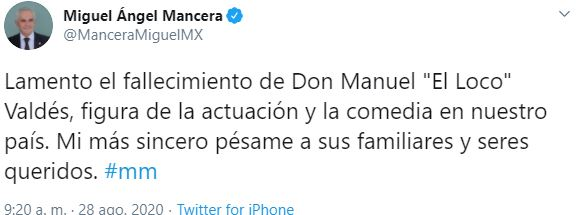 Fotografía: Caputura de pantalla / Twitter de Miguel Ángel Mancera