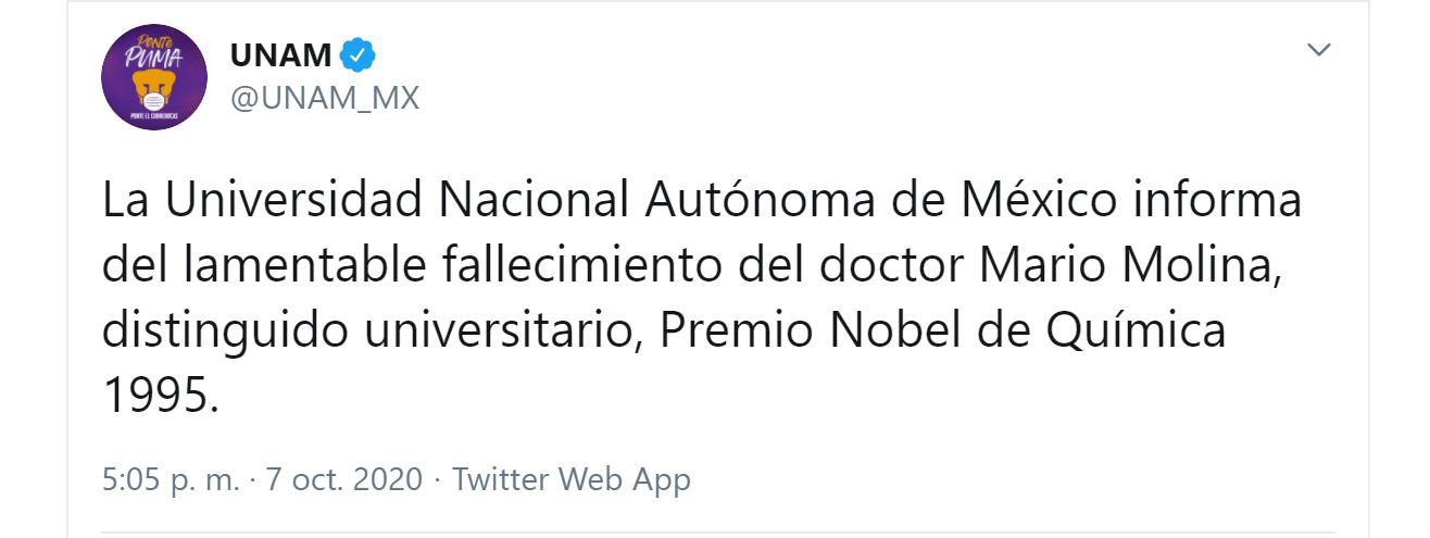 UNAM confirmó la muerte del científico Mario Molina (Foto: Twitter / @UNAM_MX)