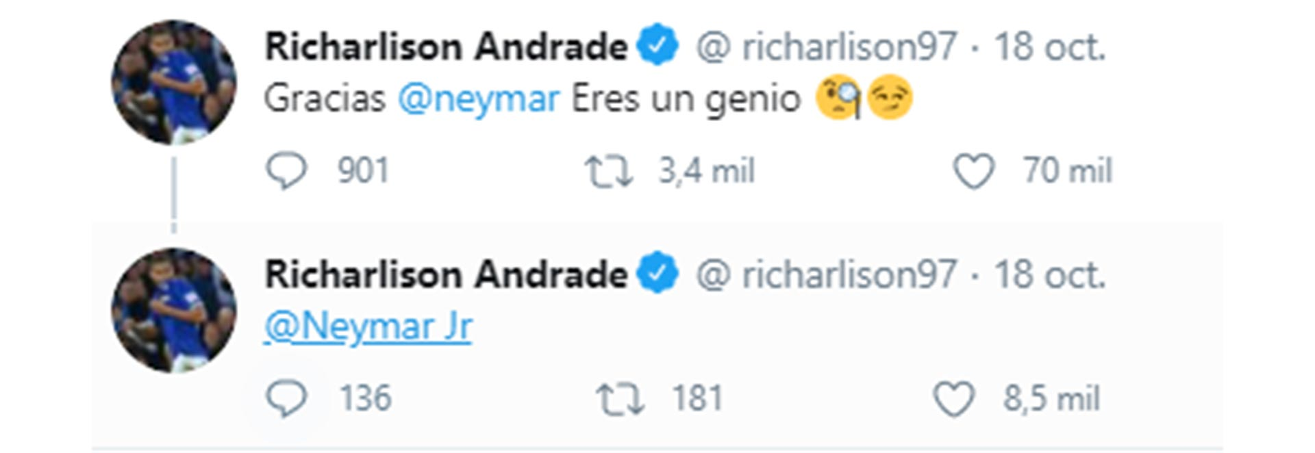 "El celular de Richarlison ""explotó"" por un error de Neymar (Twitter)"