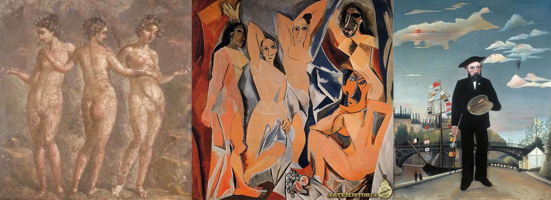 """Fresco de Pompeya; """"Las señoritas de Avignon"""", de Picasso, y """"Yo mismo - retrato de paisaje"""", de Rousseau"""