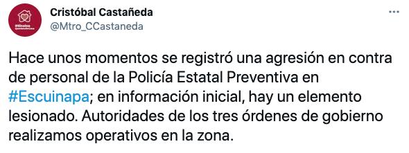 El secretario de Seguridad de Sinaloa informó esta mañana sobre un ataque contra personal de la policía estatal preventiva en Escuinapa