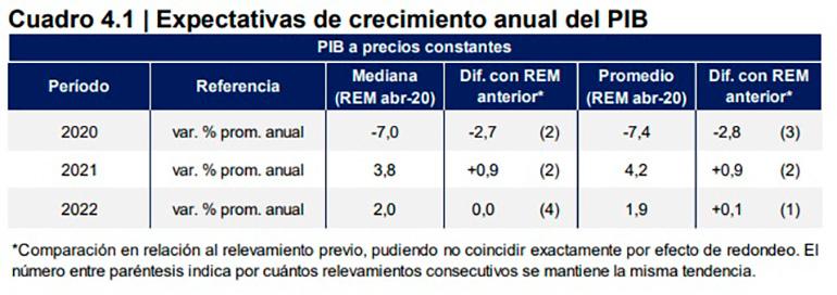 Fuente: Relevamiento de Expectativas de Mercado (REM) del Banco Central, abril de 2020.