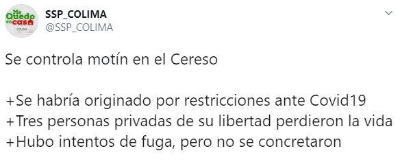 Las autoridades informaron que a las 13:30 horas el motín había sido controlado(Foto: Twitter/SSP_COLIMA)