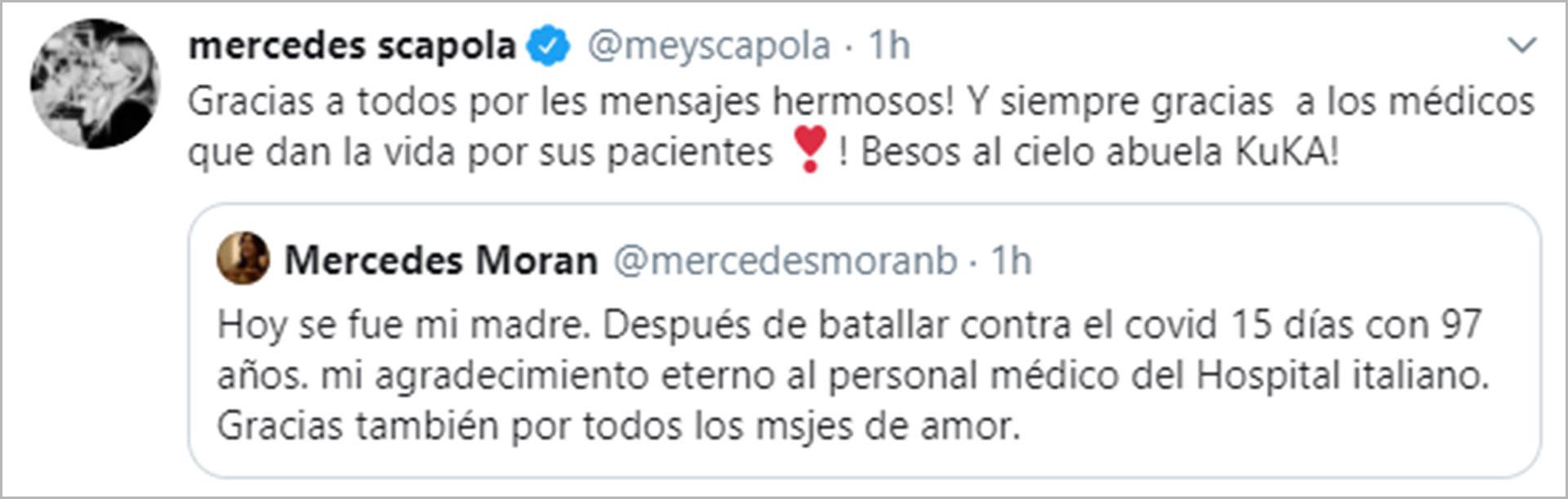 El tuit de Mercedes Morán por su madre, y la respuesta de su hija actriz, Mey Scapola