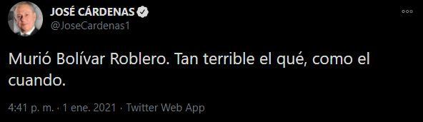 José Cárdenas también dio a conocer la noticia (Foto: Twitter@JoseCardenas1)