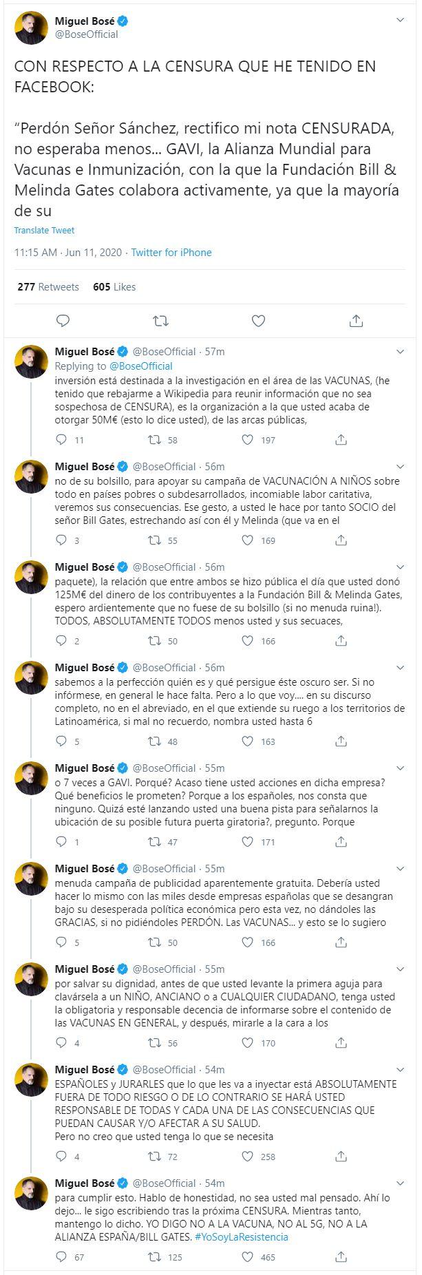 Miguel Bosé descargó su furia en Twitter sobre la alianza entre Pedro Sánchez y la Fundación Bill y Melinda Gates para hacer vacunas (Twitter)
