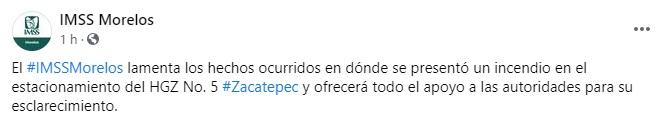 Los hechos ocurrieron el sábado 21 de noviembre a las 4:30 pm en el estacionamiento del Hospital General en la Zona No. 5 del Municipio de Sakadebek.  (Foto: Facebook / IMSS Morelos)
