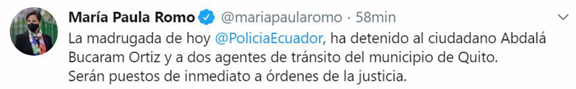 El tuit de María Paula Romo