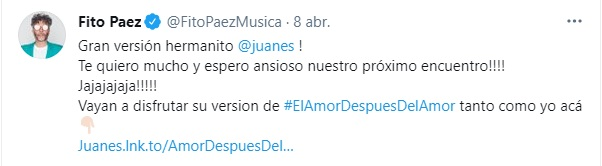 Post en Twitter de Fito Paéz. Foto: Twitter @FitoPaezMusica