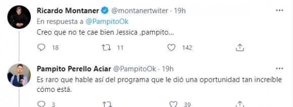 El tweet de Ricardo Montaner al periodista Pampito Perello Aciar, quien recopiló algunos de los mensajes polémicos de Jéssica Amicucci