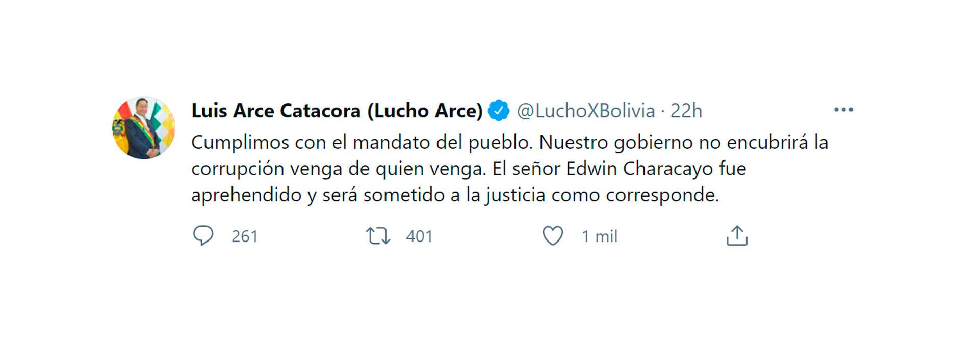 El tuit de Luis Arce