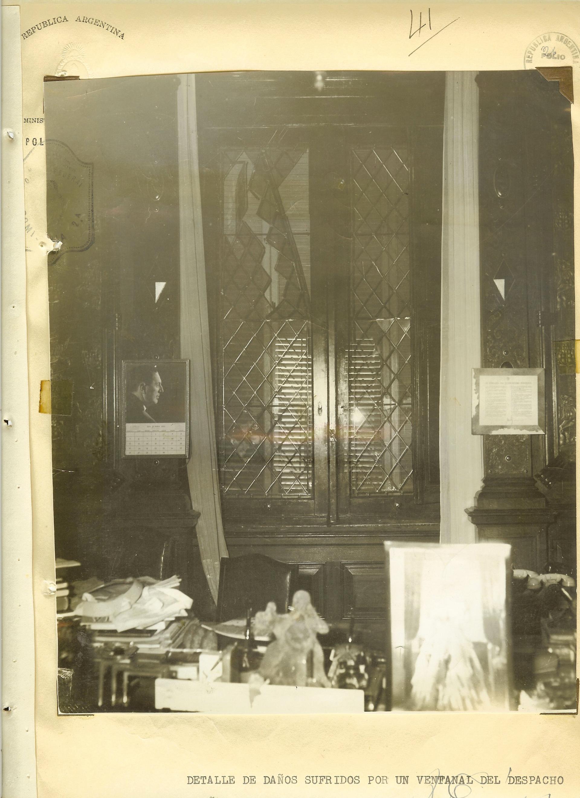 Uno de los despachos de la Casa Rosada. El bombardeo tenía como objeto derrocar a Perón.