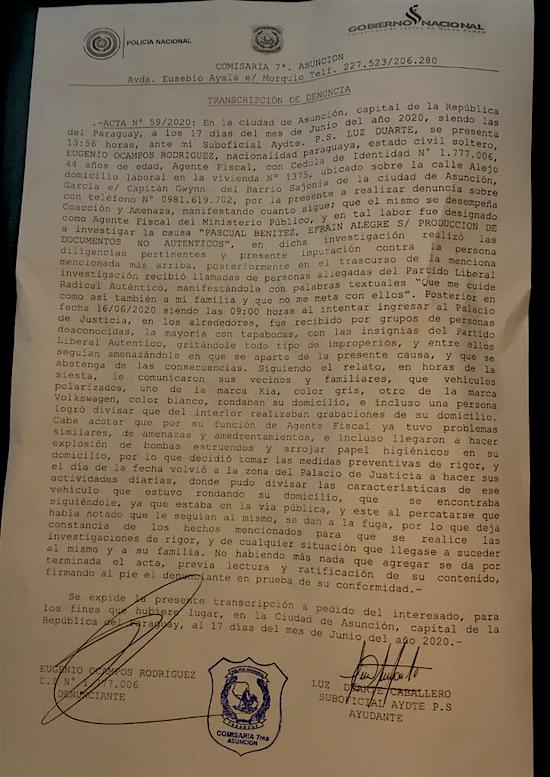 El fiscal Eugenio Ocampos se presentó ante la Policía para hacer una denuncia por amenaza de muerte en su contra.
