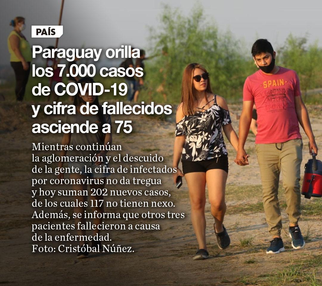 Paraguay orilla los 7.000 casos de COVID-19 y cifra de fallecidos asciende a 75