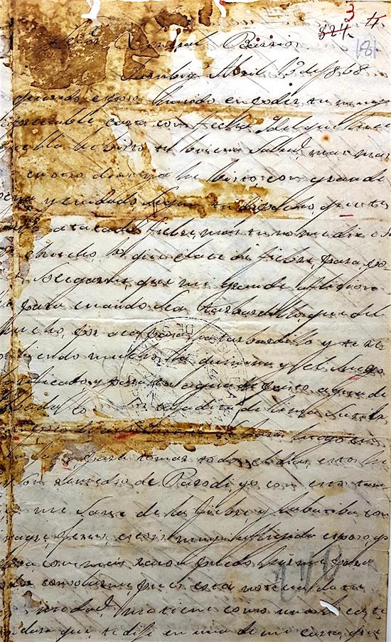 Carta de Inocencia a su esposo, el general Barrios, manchada de sangre. Archivo Nacional de Asunción.