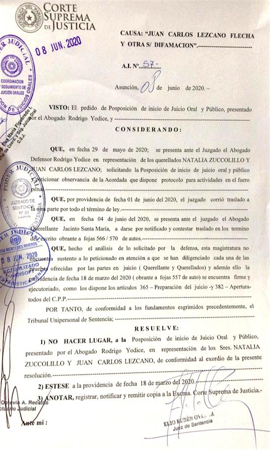 Facsímil del A.I. N° 57 del juez Elio Ovelar por el cual rechaza la petición de la defensa de Natalia Zuccolillo de posponer el juicio oral que inicia el 16 de junio.FOTO: GENTILEZA