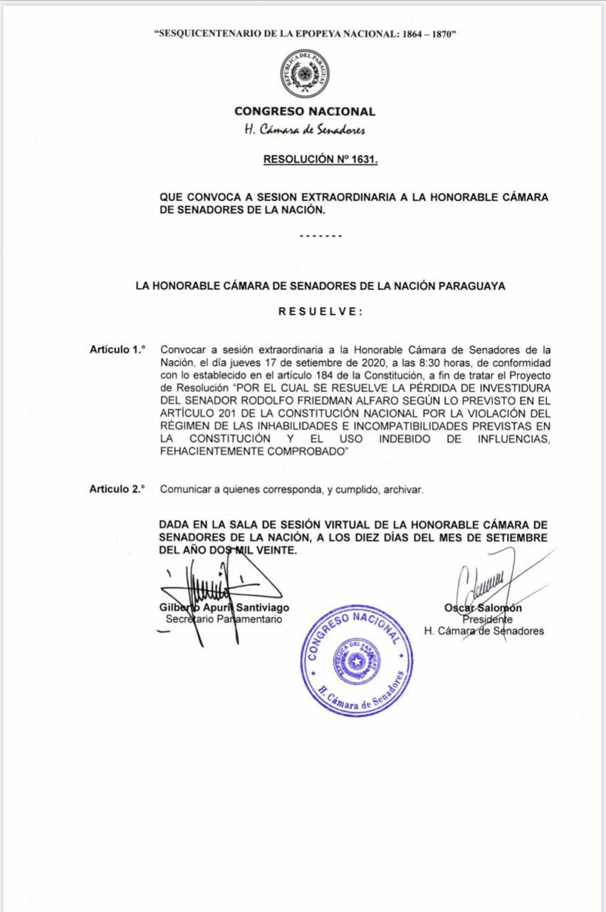 Convocatoria del Senado para el estudio de la pérdida de investidura de Rodolfo Friedmann. Foto: Gentileza.