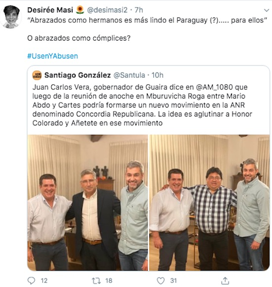 Crítica de la senadora Desirée Masi.FOTO:CAPTURA DE PANTALLA