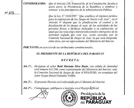 Nombramiento de Silva como representante del Ministerio del Interior ante la Conajzar.