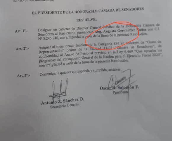 Resolución firmada por Salomón. Foto: Gentileza.