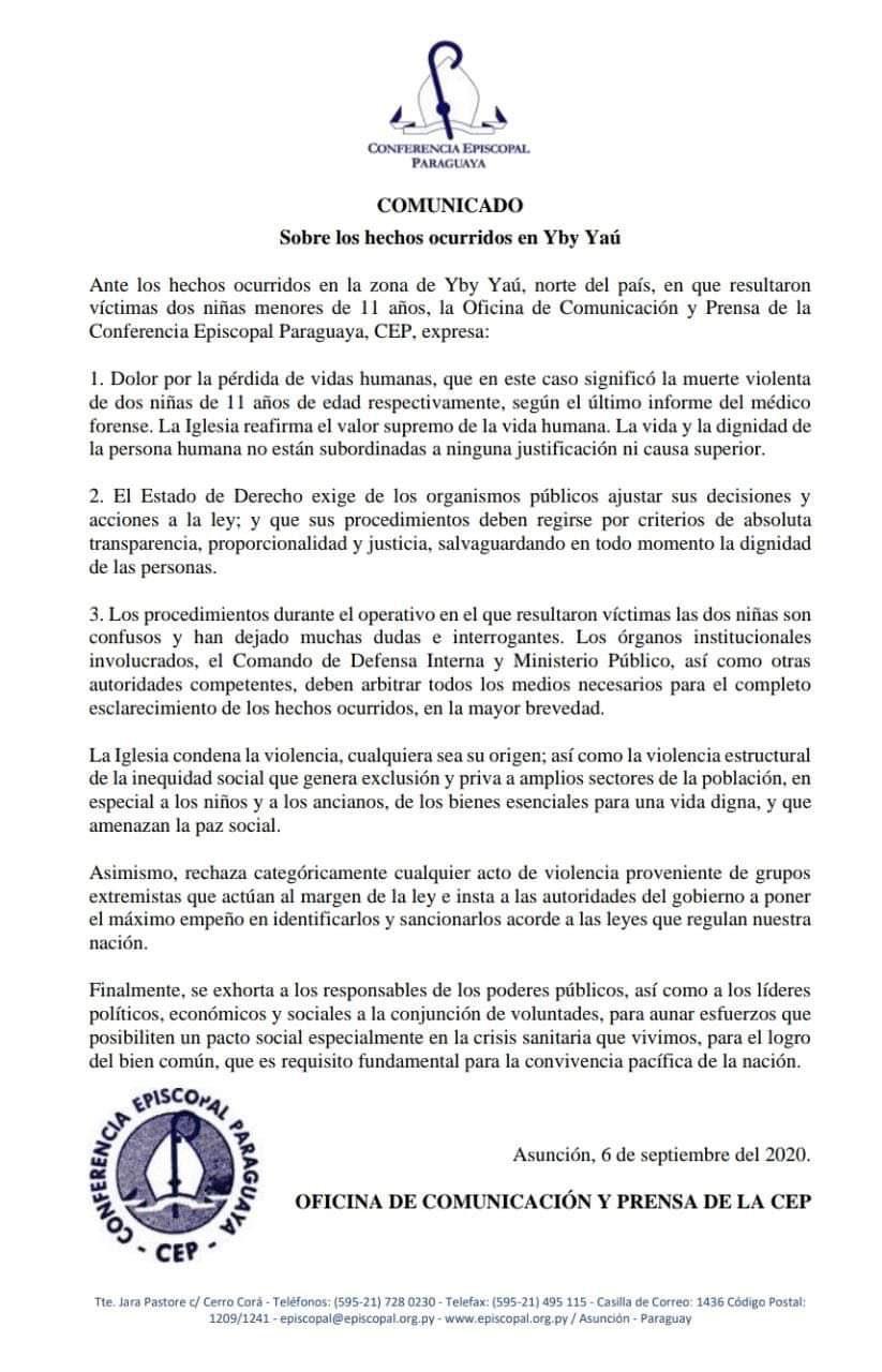 Comunicado emitido por la Conferencia Episcopal Paraguaya. Foto: Gentileza.