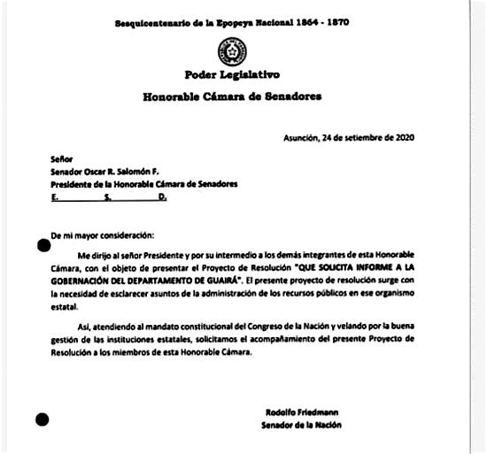 El pedido que hace el senador al actual gobernador Juan Carlos Vera sobre su gestión en los años 2019 y 2020.