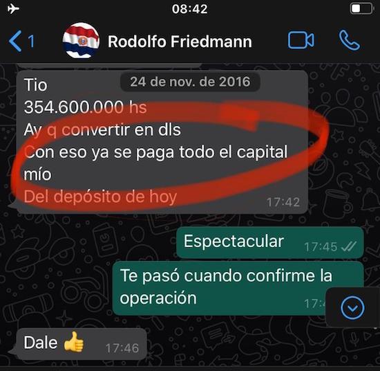 Con el primer contrato que logró ESSA en la Gobernación de Guairá, siendo Friedmann gobernador, el actual senador ya recuperó su aporte como capitalista, según él mismo lo confirma en un mensaje de Whatsapp a su ex socio comercial.