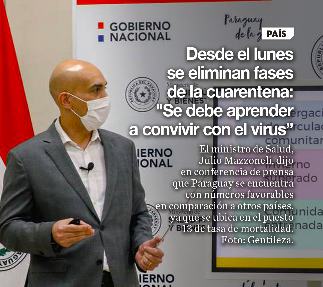 """Desde el lunes se eliminan fases de la cuarentena: """"Se debe aprender a convivir con el virus"""""""