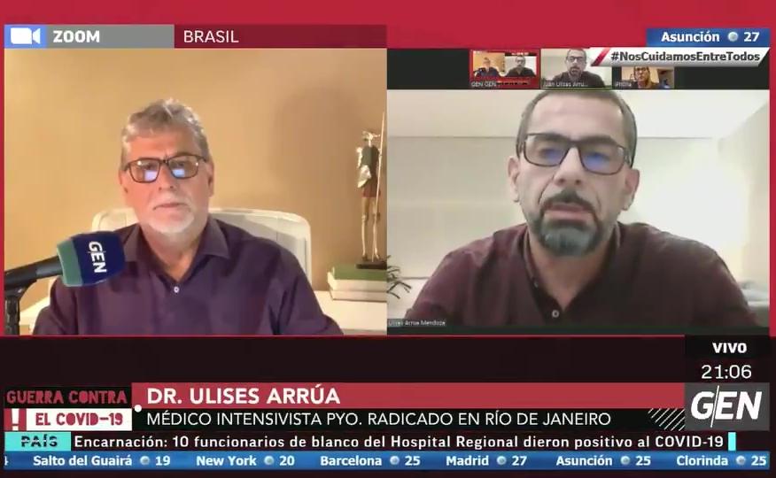 """El Dr. Ulises Arrúa, médico paraguayo intensivista en Brasil, fue entrevista por Augusto Dos Santos en """"Asamblea"""". Foto: GEN."""
