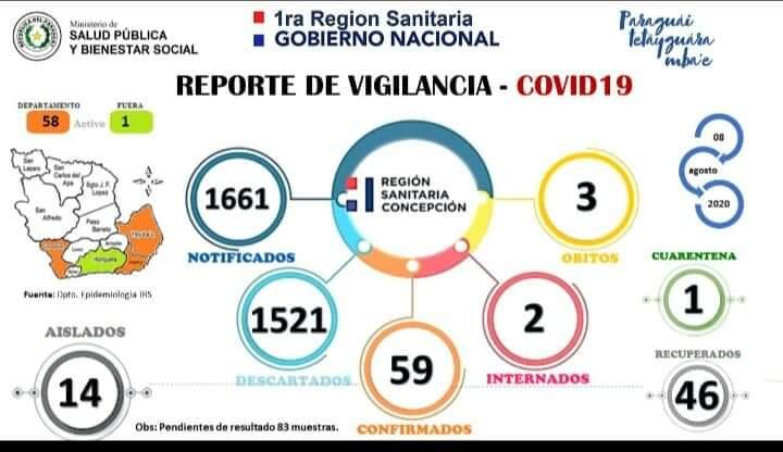 Reporte actualizado de Concepción. Foto: Gentileza.