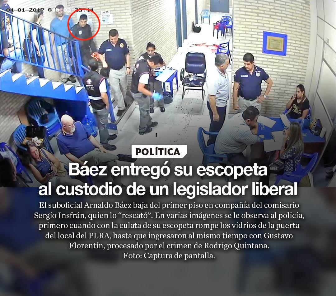Báez entregó su escopeta al custodio de un legislador liberal