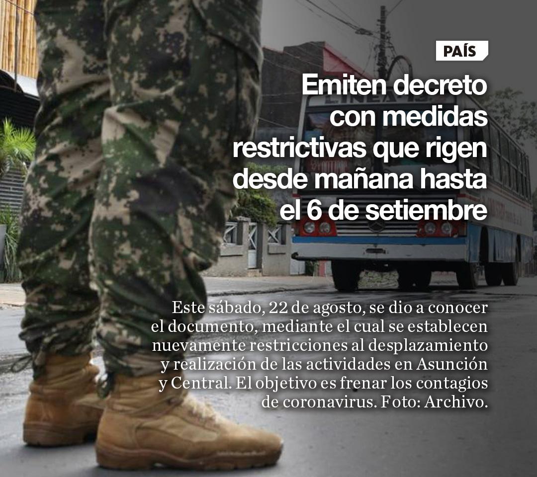 Emiten decreto con medidas restrictivas desde mañana hasta el 6 de setiembre