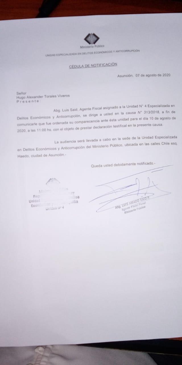 Citación realizada por el agente fiscal. Foto: Gentileza.