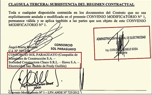 EN FAMILIA. Contrato que había firmado el ex presidente de la Ande, Carlos Heisele, con el consorcio que integra empresa de su yerno Guillermo Duarte.