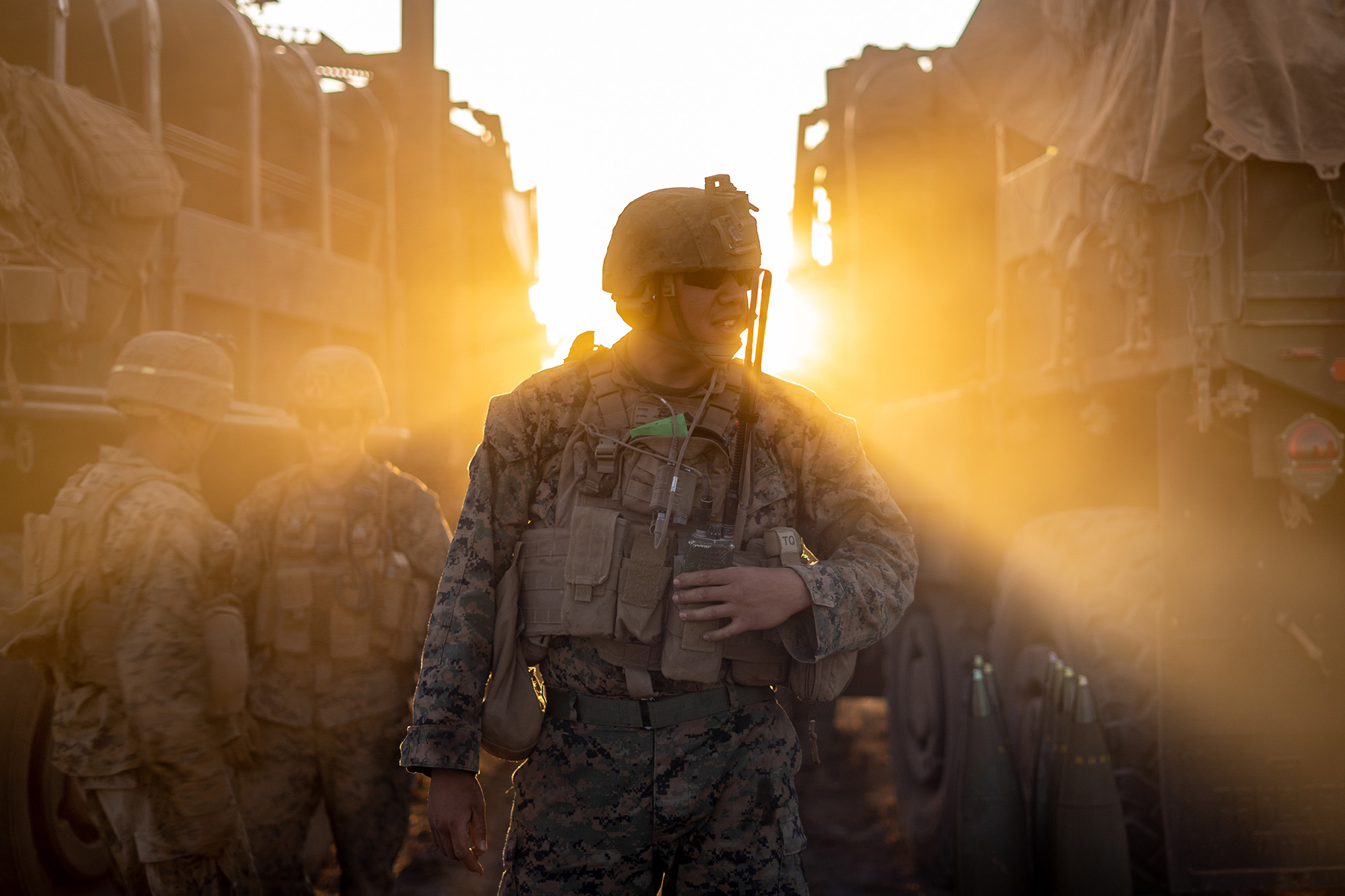 U.S. Marine Corps Sgt. David Galindo, a field artillery section chief with Ground Combat Element, Marine Rotational Force - Darwin, conducts live-fire training at Mount Bundey Training Area, Northern Territory, Australia, Aug. 8, 2020. (Cpl. Sarah Marshall/Marine Corps)