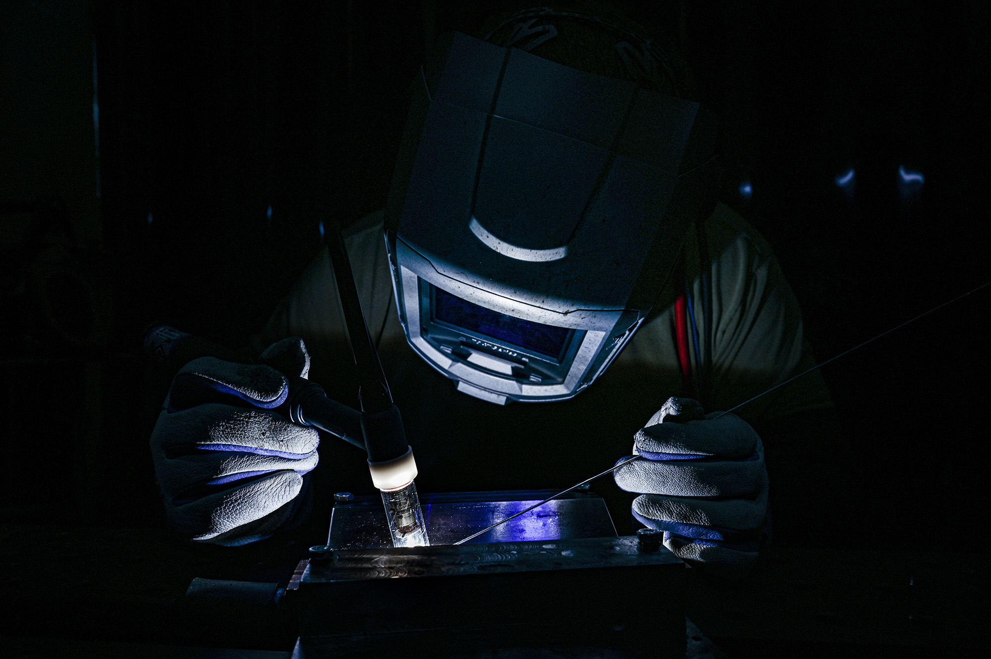Staff Sgt. Adam Kitta welds metal recertification welding plates at the Pittsburgh International Airport Air Reserve Station, Pa., Oct. 29, 2020. (Joshua J. Seybert/Air Force)