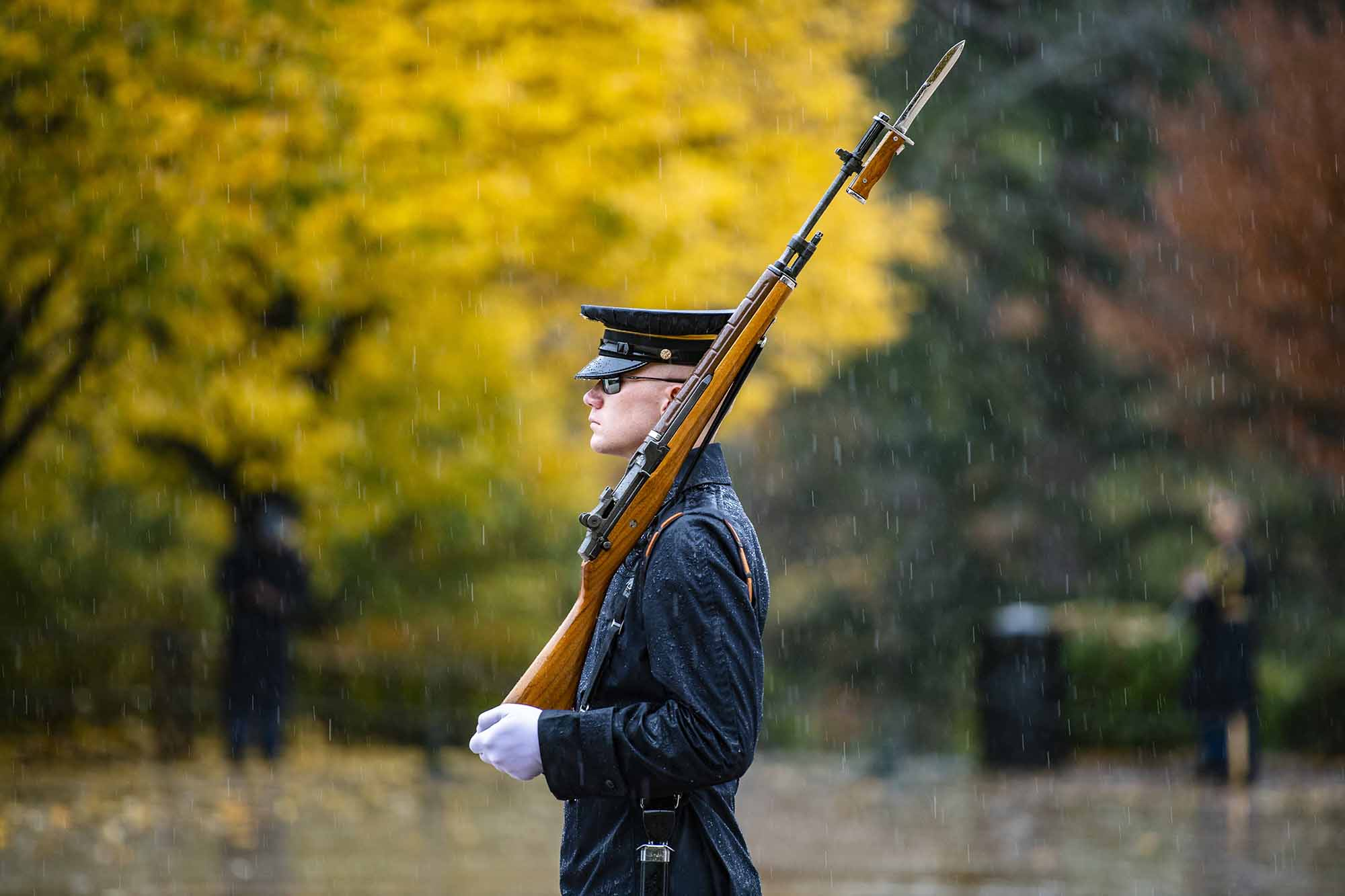 A sentinel from the Old Guard walks the mat at the Tomb of the Unknown Soldier at Arlington National Cemetery, Arlington, Va., Nov. 11, 2020. (Elizabeth Fraser/Army)