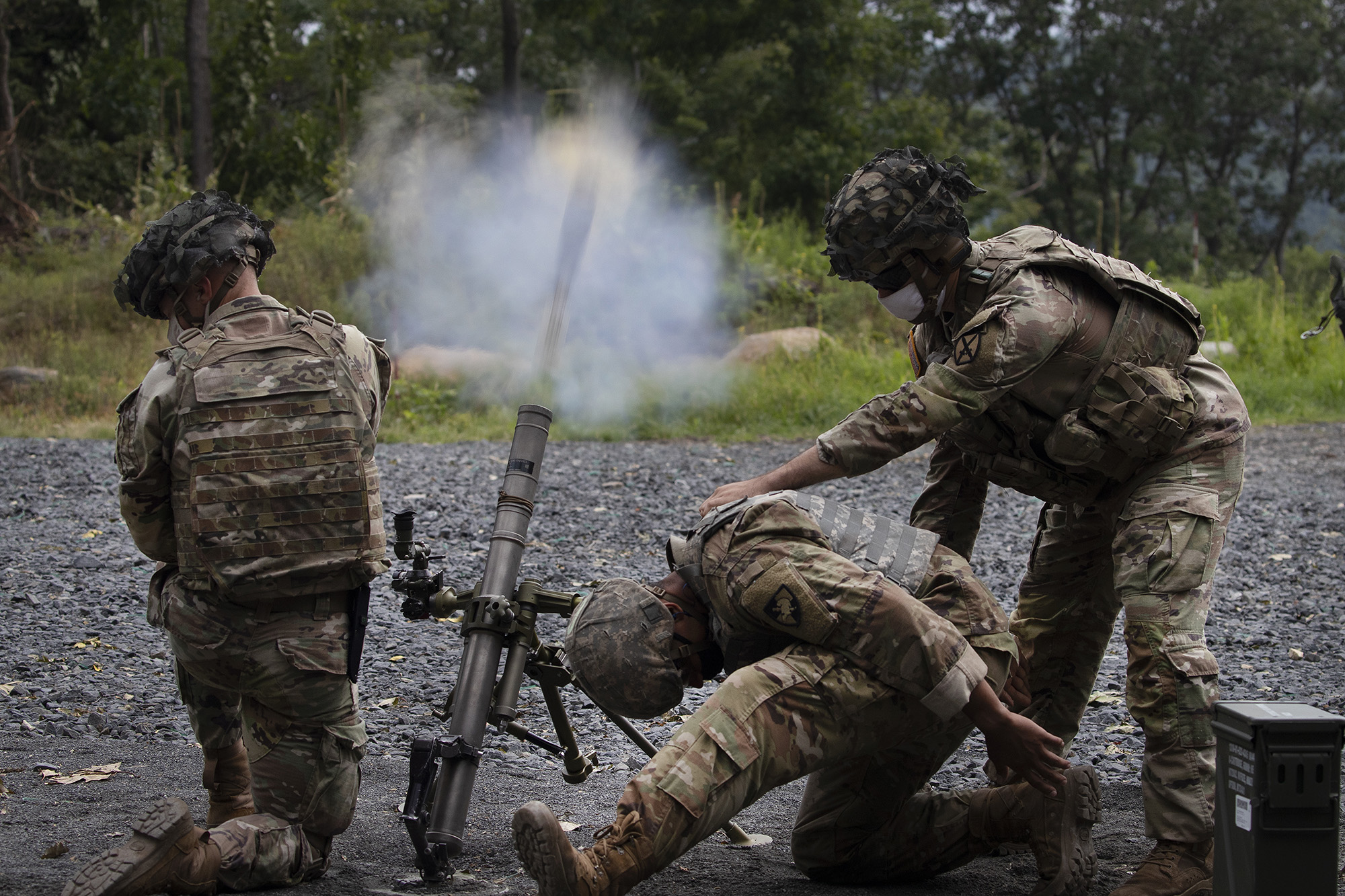 Cadets learn to fire mortars, Friday, Aug. 7, 2020, at the U.S. Military Academy in West Point, N.Y. (Mark Lennihan/AP)
