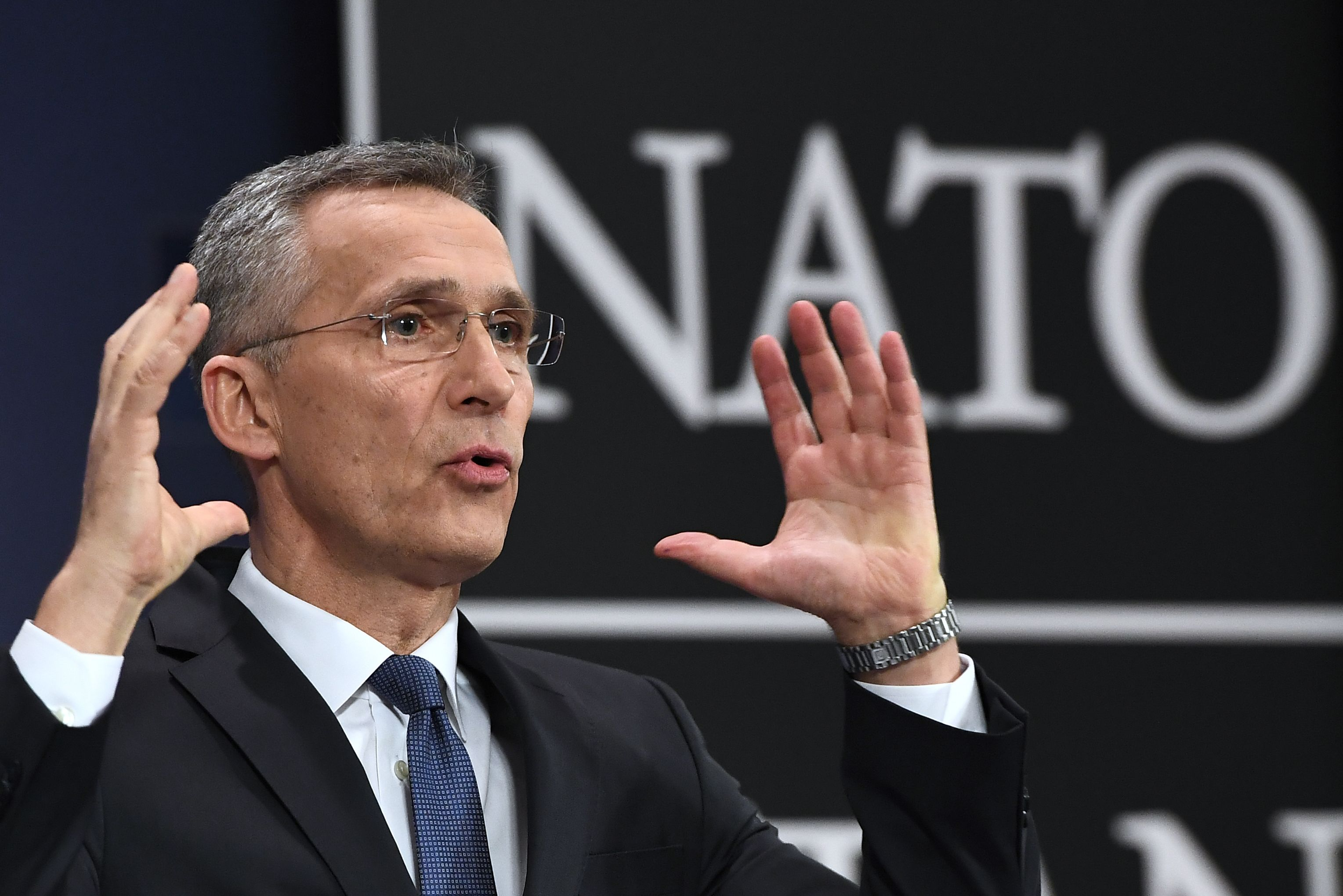 NATO Secretary-General Jens Stoltenberg gestures as he addresses a press conference to give the alliance's annual report at NATO headquarters in Brussels on March 15, 2018. (Emmanuel Dunand/AFP via Getty Images)
