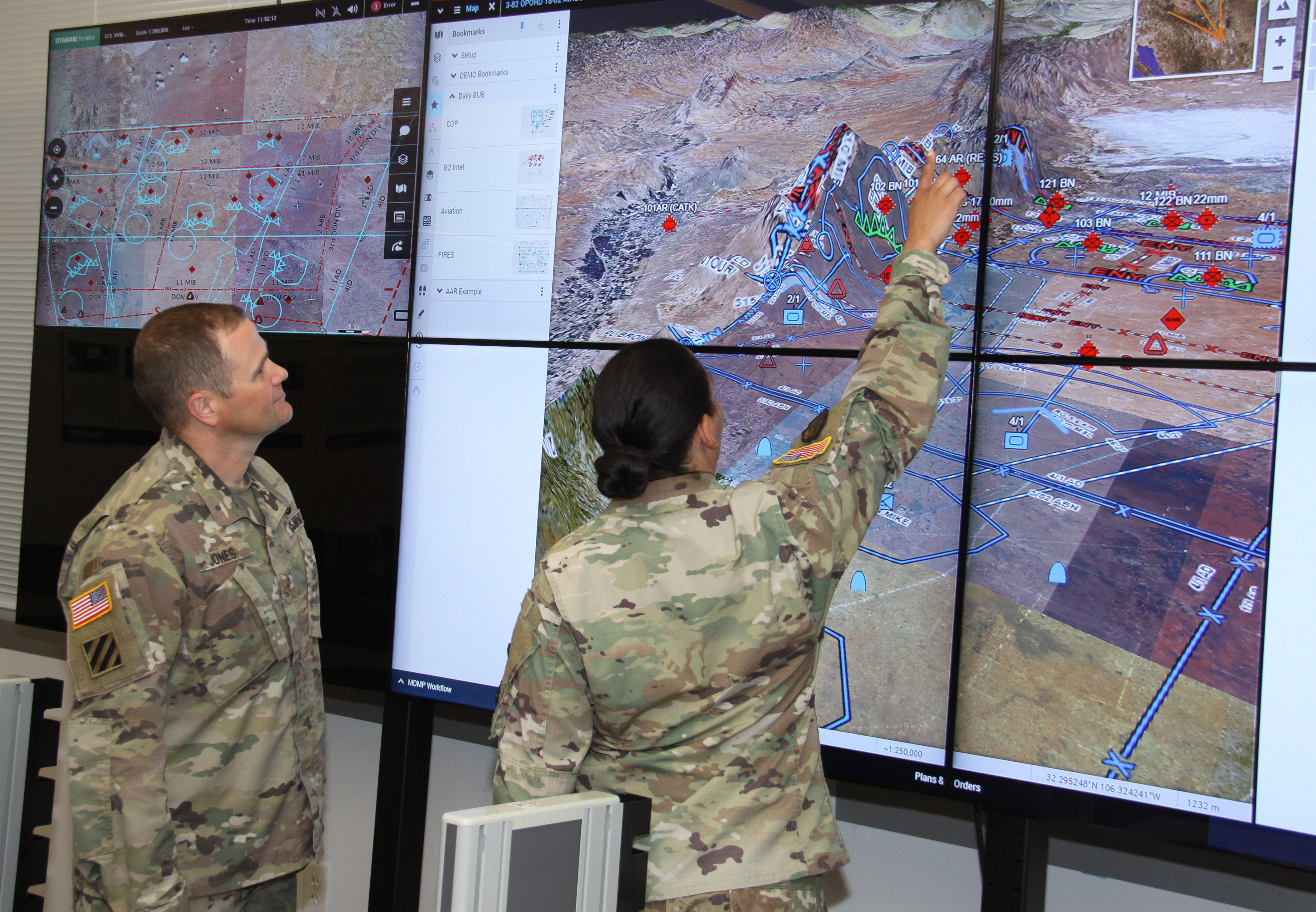 Maj. Jerry Jones and Capt. Monica Holmes demonstrate the Command Post Computing Environment at Aberdeen Proving Ground, Maryland, June 5, 2018. CP CE will feature a simplified user experience by combining warfighting functions into a common user interface, reducing the training burden on Soldiers and accelerating the integration of new capabilities. Core CP CE common infrastructure functions will provide chat, a standardized map, message centers and an extensible data model. (Courtesy of U.S. Army)