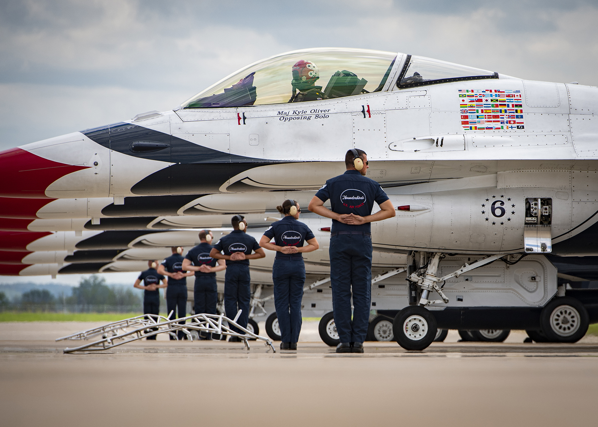 """The United States Air Force Air Demonstration Squadron """"Thunderbirds"""" line up in formation before performing in the Sound of Speed Air Show in St. Joseph, Mo., May 2, 2021. This was the first time the team performed in St. Joseph in more than three decades. (Staff Sgt. Andrew D. Sarver/Air Force)"""