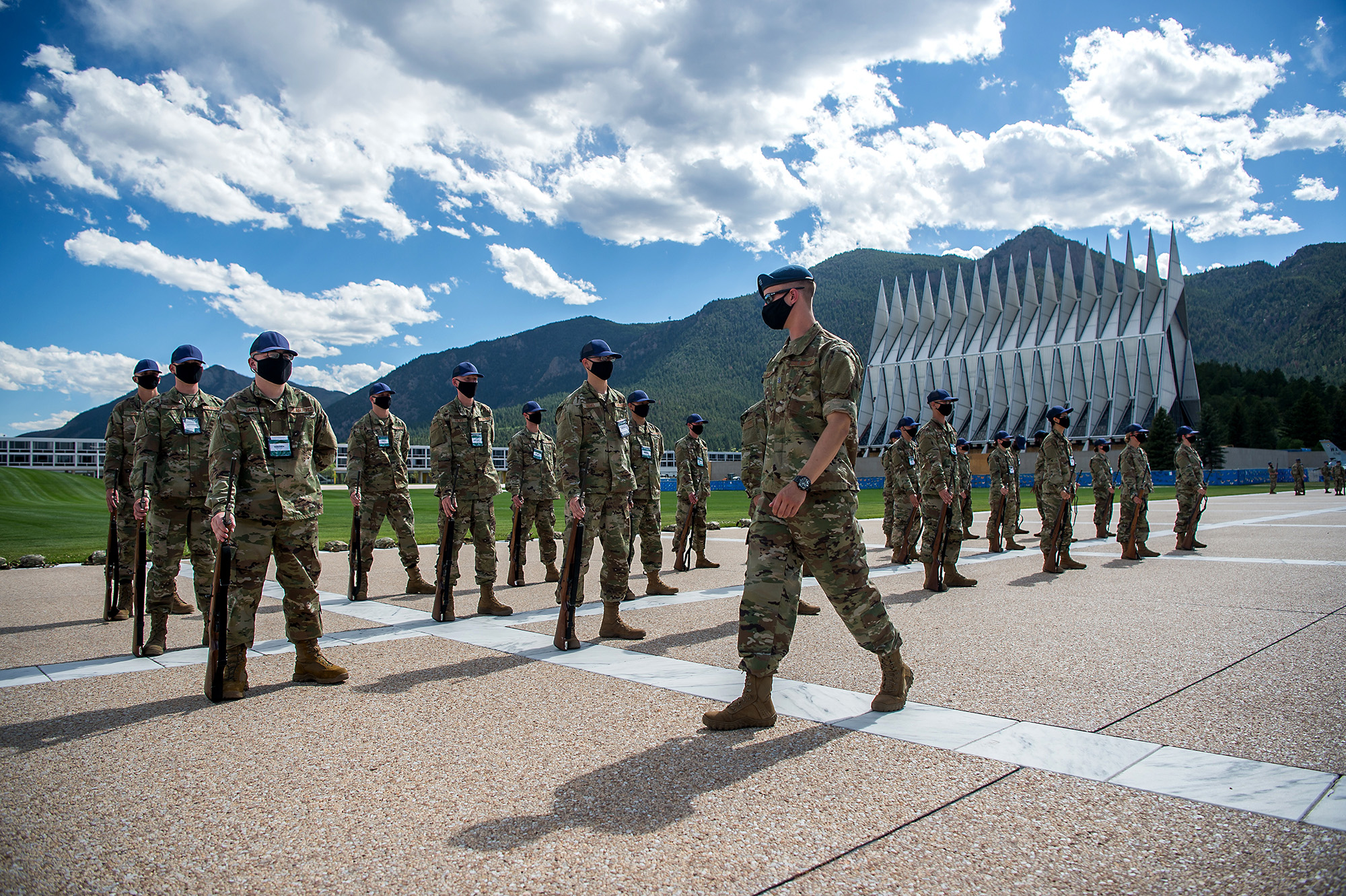 Academy basic cadets participate in the first phase of basic cadet training with marching drills onJuly 8, 2020, onthe Terrazzo at the U.S. Air Force Academy in Colorado. (Trevor Cokley/Air Force)
