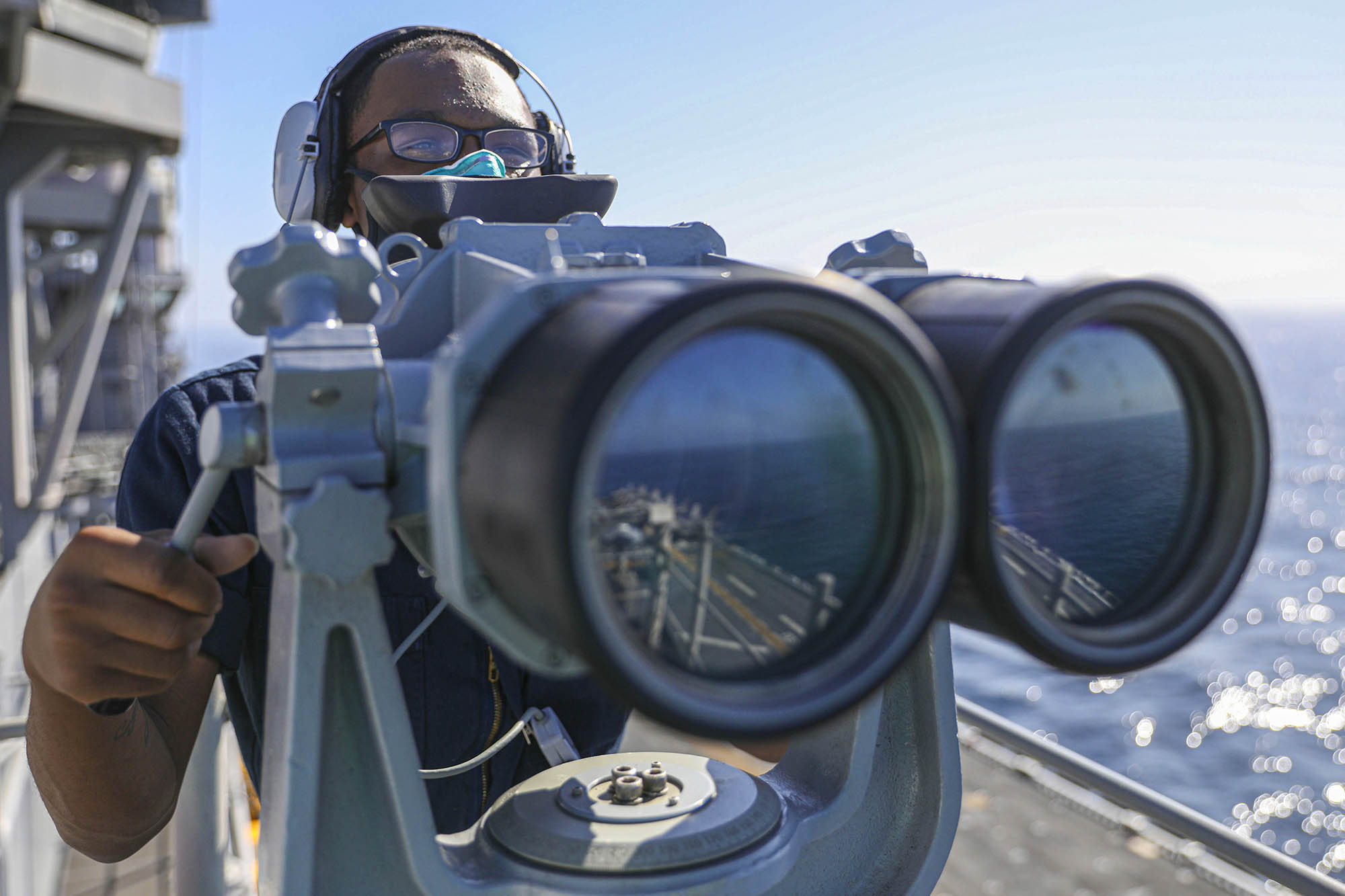 Seaman Armon Price stands a navigation watch Oct. 14, 2020, aboard the amphibious assault ship USS Makin Island (LHD 8) in the Pacific Ocean. (MC1 Harry Andrew D. Gordon/Navy)