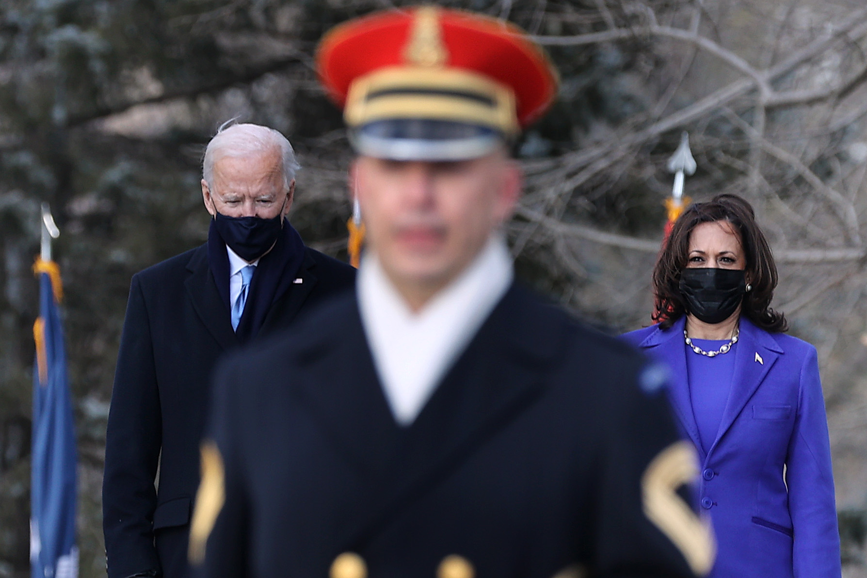 President Joe Biden and Vice President Kamala Harris attend a wreath-laying ceremony at Arlington National Cemetery's Tomb of the Unknown Soldier after the 59th Presidential Inauguration ceremony at the Capitol Jan. 20, 2021, in Arlington, Va. (Chip Somodevilla/Getty Images)