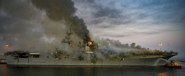 The U.S. Navy's fleet was hit with two high-profile fires. A series of explosions and a 1,200-degree inferno damaged 11 of the amphibious assault ship Bonhomme Richard's 14 decks, according to a summary of the damage by the U.S. Navy's top officer. The fire on the Bonhomme Richard broke out the morning of July 12 while it was pierside in San Diego, California, undergoing maintenance. The service will not repair the ship over costs. And on July 17, the amphibious assault ship Kearsarge caught fire. The incident started when a spark from welding landed on nearby material, which was then quickly put out by the fire watch. (U.S. Navy)